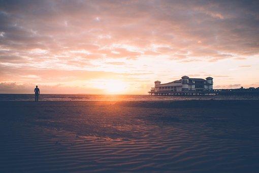 Sea, Shore, Beach, Coast, Sand, House, Horizon