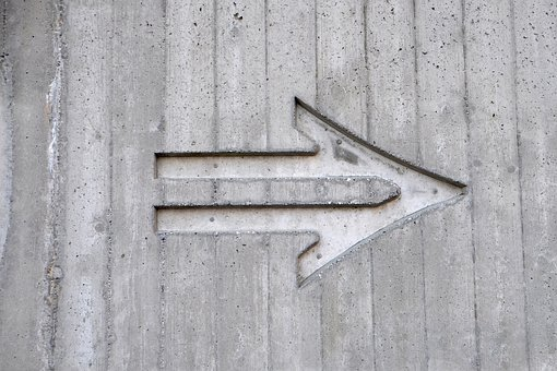 Gray, White, Cement, Wall, Engraving, Right, Sign