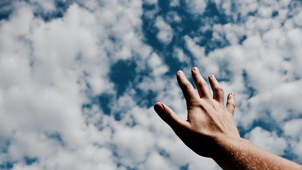 Hands, Fingers, Arm, Cloudy, Blue, Sky