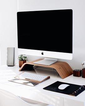 Imac, Keyboard, Mouse, Computer, Speakers, Desk, White