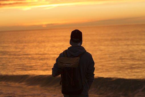 Sunnset, Sun, Boy, Ocean, Water, Morgenstimmung, Golden