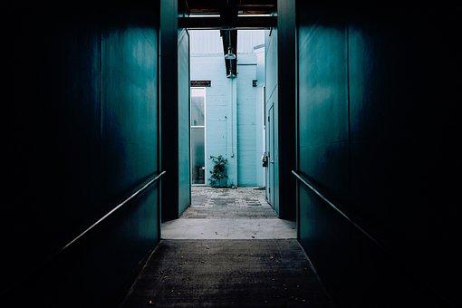 Teal, Alley, Corner, House, Apartment, Dark