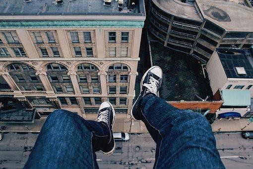Buildings, City, Sneakers, People, Edge, Rooftop