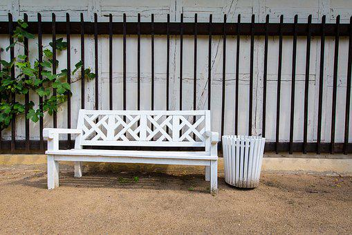Park Bench, Garbage Can, Castle Park, Bench, Disposal