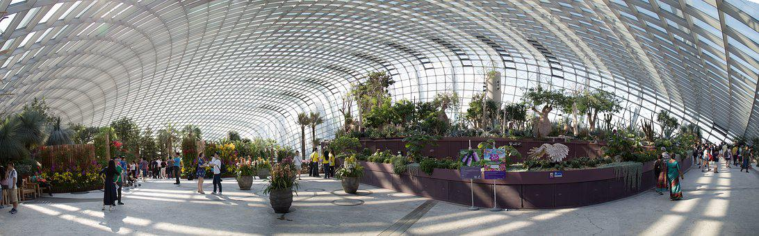 Flower Dome, Glass, Glass Building, Large Building