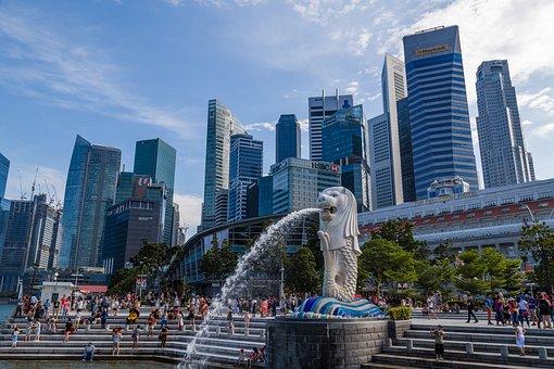 Singapore, Merlion, Merlion Park, City, Building
