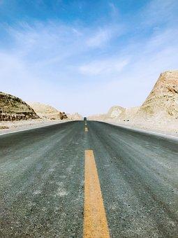 Highway, Distance, Blue Sky