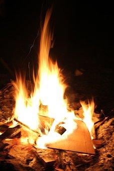 Fire, Wood, Camp, Outdoor, Cook, Spark, Green, Grass