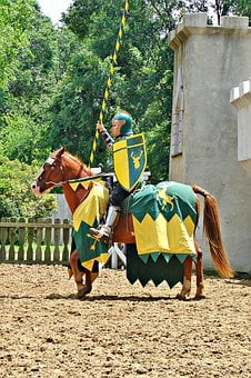 Horse, Knight, Jousting, Medieval, Man, Green, Yellow