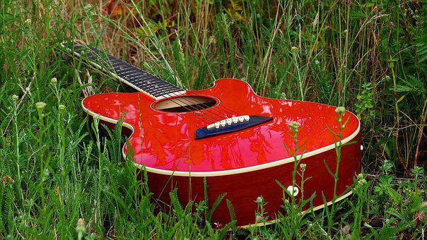 Guitar, Meadow, Musical Instrument, Nature, Music