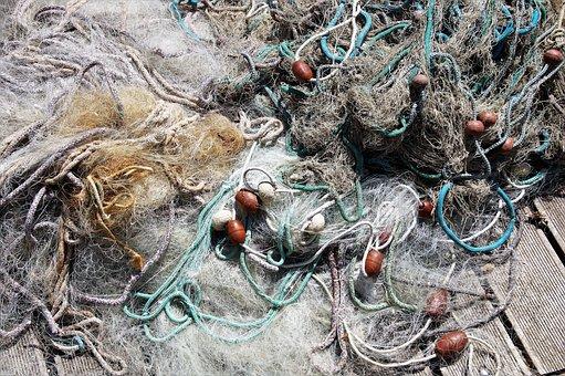 Fishing Net, Tangled, On The Shore, Fishing, Mediteran