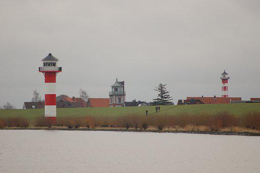 Lighthouse, Elbe, River, Water, Landscape, Beacon