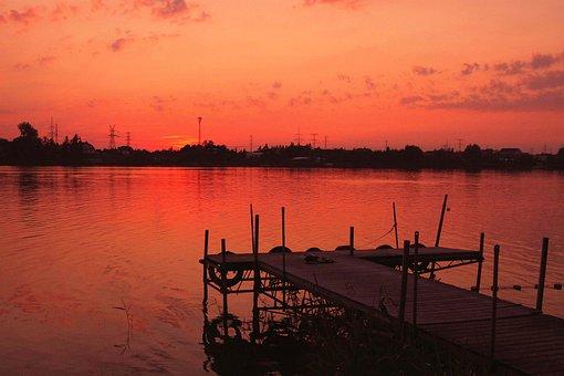 Lake, West, Sunset, Water, The Sun, Landscape, Summer
