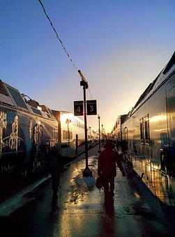 Train, Evening, Cold, Railway, Travel, Transportation