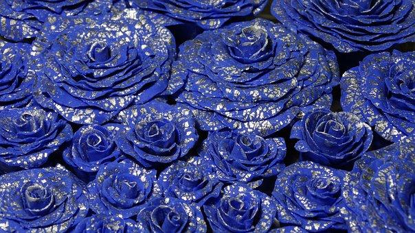 Rose, Blue, Flower, Bloom, Floral, Silver Leaf, Soap