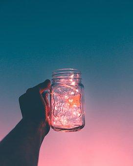 Sky, Sunset, Hand, Glass, Jar, String