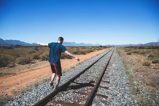 Railway, Track, Outdoor, Mountain, View, Sunny, Day