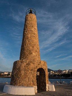 Lighthouse, Sky, Clouds, Sea, Costa, Sun, Holiday
