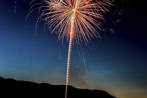 Fireworks, Spark, Clouds, Sky, Nature, Smoke