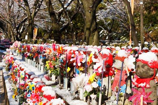 Tokyo, Japan, Shrine, Buddhist, Winter, Snow, Asia