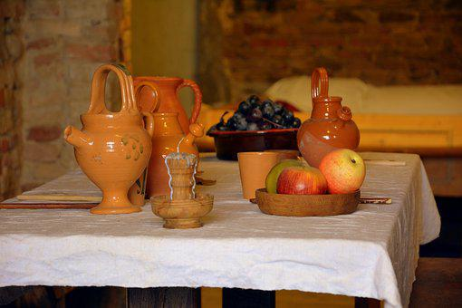 Table, Medieval, Items, Candle, Amphora, Fruit, Apple
