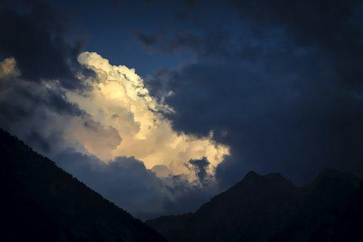 Clouds Stommung, Twilight, Mountains, Sky, Dusk, Clouds