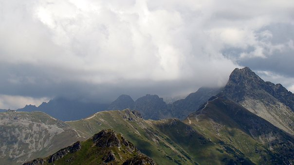 Mountains, Clouds, The Tops Of The Mountains