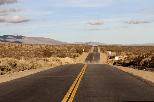 Nevada, Desert, Road, Yellow, Brown, Empty, Usa