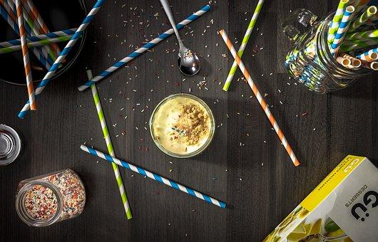 Sweets, Straw, Sprinkles, Table, Spoon, Glass, Jar
