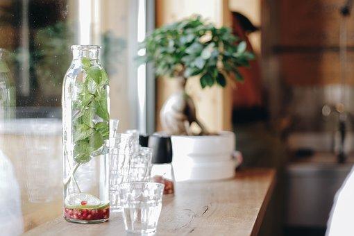 Table, Wood, Trees, Green, Glass, Jars, Flowerpot