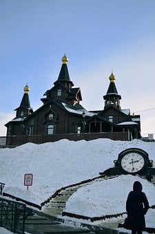 Winter, Church, Clock, Ladder, Sky, Dome, Temple