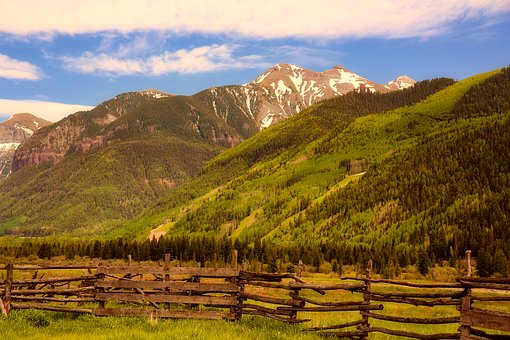 Colorado, Landscape, Mountains, Wooden Fence, Valley