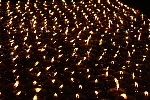 Buddhism, Light, Oil, Lamps, India, Bodh Gaya, Bihar