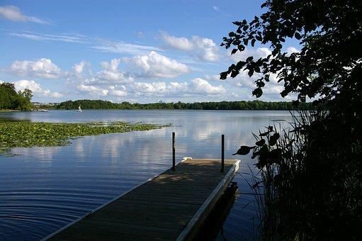 Sky, Clouds, Dock, Water, Lake, Minnesota, Midwest