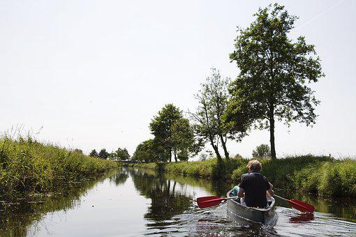 Canoeing, Paddle, Channel, Northern Germany