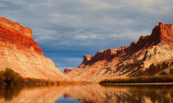 Utah, Lake, Water, Reflections, Sky, Clouds, Mountains