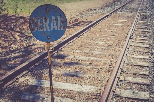 Train, Railway, Track, Metal, Sign, Derail, Travel