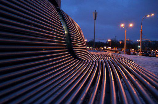 Bench, Geometry, Reflection, Evening, Lights, Sky, City