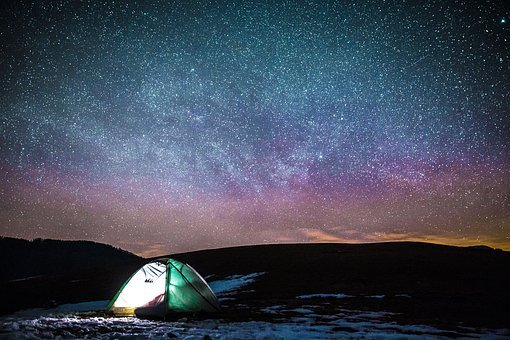 Dark, Night, Sky, Stars, Galaxy, Light, Tent, Camping