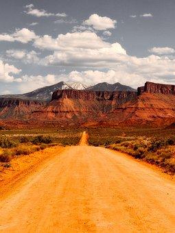 Utah, Dirt Road, Mountains, Sky, Clouds, Nature