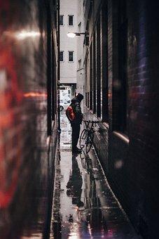 People, Man, Alone, Alley, Sad, Rain, Bicycle, Bike