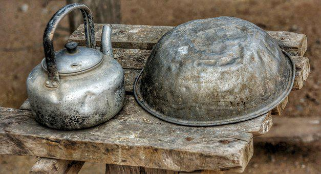 Poor, People, Basic, Needs, Old, Kettle, Basin, Bowl