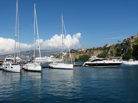 Sorrento, Italy, Port, Cityscape, Coast, Boats, Cliff