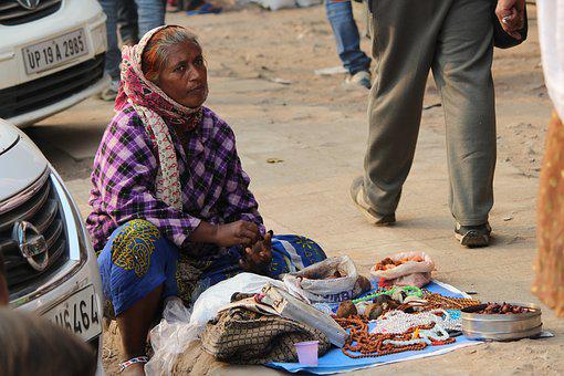 India, Street, Vendor, Old, Delhi, Poor, Lady, Seller