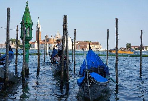 Gondola, Venice, Canal, Water, Tie, Poles, Italy