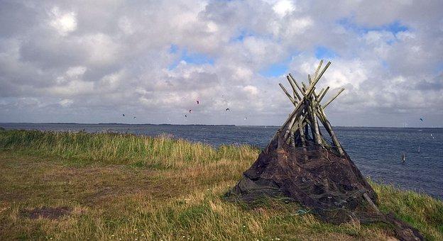 Denmark, North Sea, Fishing Nets, Sea, Sky, Coast