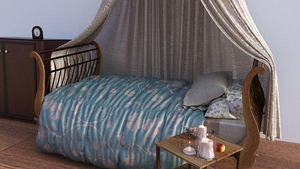 Bed, Bedroom, Sleep, Antique, Historically, Hotel Rooms