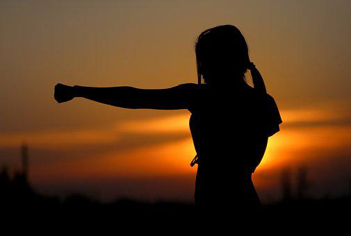Karate, Sunset, Fight, Sports, Silhouette, Resistance
