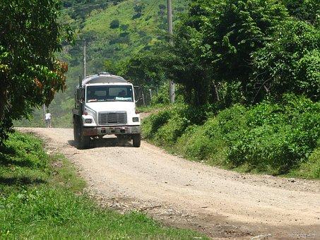 Truck, Street, Rural, Drivers, Man, Pipe, People