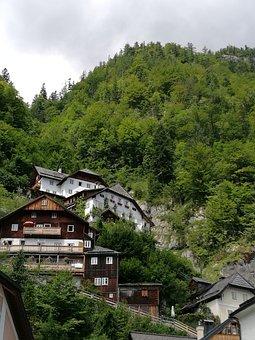 Hallstatt, City, Alps, Austria, Lone Peak, Greens
